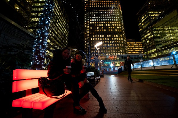 Glowing benches with Wireless DMX